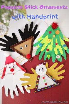 Christmas Handprint Crafts, Christmas Crafts For Kids To Make, Kids Christmas, Holiday Crafts, Holiday Ideas, Holiday Decor, Stick Christmas Tree, Christmas Tree Ornaments, Popsicle Stick Crafts