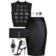 All Black BET awards 2015 by fashionkill21 on Polyvore featuring polyvore fashion style Giuseppe Zanotti Yves Saint Laurent Rolex