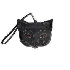 f13e98e8893 Purple Leopard Boutique - Black Leather Cat Wristlet Coin Purse with Strap,  $18.00 (https