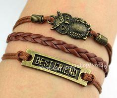 Owl bracelet-Bestfriend bracelet-Brown Wax Cord woven rope handmade jewelry-Lovely bangle-Boy friend gift