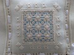 Drawn threadwork, Fragrance pillow worked by Mara Gaspari. Trasimeno Italy