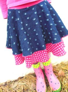 hazel and company: denim & dots skirt tutorial.....such an easy skirt that can be made for little girls and older {little} girls, too!