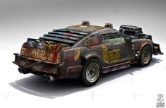 Ford Mustang based zombie vehicle | Rouf Bertz apocalyptic car concept art design transportation Ford mustang desert vehicle