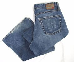 Adriano Goldschmied Jeans 33 x 32 The Fillmore Boot Cut Blue Frayed Denim AG #AGAdrianoGoldschmied #BootCut