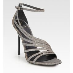 B Brian Atwood Glitter Strappy Sandals ($228) ❤ liked on Polyvore