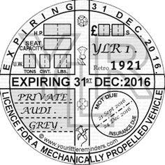 Retro 1921 Car Vehicle Road Tax Disc Reminder PYLR021