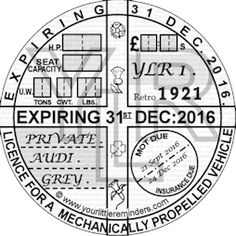 Retro 1921 Car Vehicle Road Tax Disc Reminder PYLR021