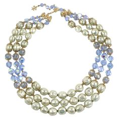 "Vendome Baroque ""Pearl"" and Blue Crystal Necklace 