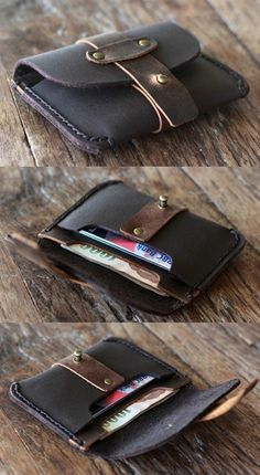 Dark Chocolate Treasure Chest Credit Card Wallet by JooJoobs. This leather is no longer available but the design lives on. Handmade Leather Wallet, Leather Gifts, Leather Pouch, Leather Purses, Leather Men, Leather Fashion, Leather Wallets, Leather Workshop, Sewing Leather