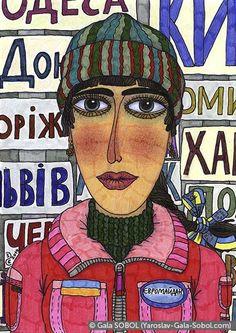 GALA SOBOL The girl from Euromaidan in Kyiv – 2. 2014. Mixed media. 14,7x10,5 (5 3/4 x 4 1/8 in) // Дівчина з Євромайдану в Києві – 2. 2014. Мішана техніка. 14,7x10,5