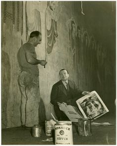 Jo Mielziner (set and lighting designer) and scenic painter at work on By Jupiter] (1942)