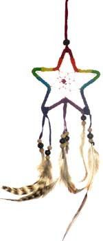 """A variation of the traditional dream catcher with feathers and beads incorporating a five pointed star. 3"""" x 9"""""""