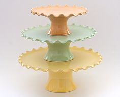 "MADE TO ORDER - Cake Stand Tier Set - Large 12"" Medium 10"" and Small 7"" - Ruffle Stands - Citrus Colors"