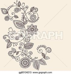 Vines Henna Tattoo Paisley Vector