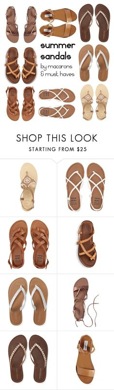 """""""summer sandals"""" by cchicgurl on Polyvore featuring Jack Rogers, Billabong, Aéropostale, Canvas by Lands' End and Steve Madden"""