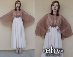 Vintage 70s Sheer Cape Dress Gown S M Cocktail Maxi by shopEBV, $115.00