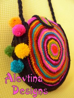 Colorful mexico round circle stripy pompon by AlevtinaDesigns Bobble Crochet, Crochet Tote, Crochet Handbags, Crochet Purses, Love Crochet, Bead Crochet, Crochet Mandala Pattern, Crochet Patterns, Knitting Accessories
