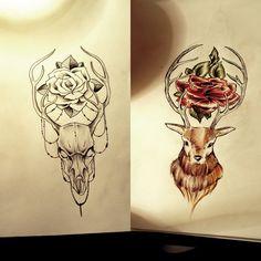 deers tattoo design  #oldschool