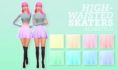 10 pastel recolours of youn-zoey & beautiful high waisted skater skirt. You will need their mesh for these to show up! Sims 4 Mm Cc, My Sims, High Waisted Skater Skirt, Skater Skirts, Pastel Tops, Pastel Skirt, Cc Fashion, Sims 4 Blog, Sims4 Clothes
