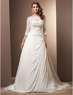 Wedding Dress A Line Court Train Chiffon Off the Shoulder With Illusion Sleeves and Beading Appliques – USD $ 159.99