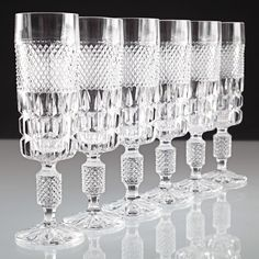 6 Vintage Sektgläser Kristall Gläser Krirstallgläser Waffel Rauten U6U