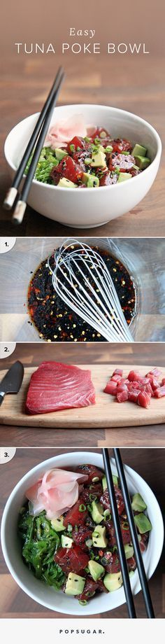 This Easy Tuna Poke Bowl Is Seriously Delicious If 2015 was the year that acai bowls hit mainstream, spreading from niche juice shops and hippie-vibe cafés to Jamba Juice, poke is the bowl food to watch for in A traditional Hawaiian seafood preparati Seafood Dishes, Seafood Recipes, Cooking Recipes, Pizza Recipes, Bread Recipes, Seafood Appetizers, Spinach Recipes, Dip Recipes, Kitchen Recipes