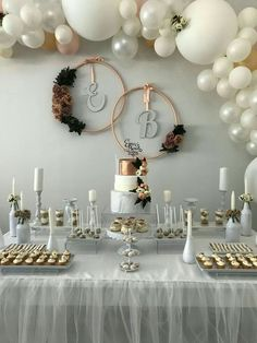 Elegant Ba Shower Bridal Shower Decorations Engagement intended for Elegant Baby Shower - Party Supplies Ideas Table Decoration Wedding, Engagement Party Decorations, Bridal Shower Decorations, Balloon Decorations, Table Decorations, Backyard Engagement Parties, Balloon Garland, Diy Engagement Party, Pearl Wedding Decorations