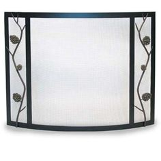 "Pine Cone Bowed Screen. 44 3/4""W x 33""H."