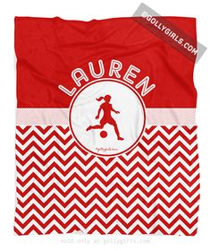 Personalized Simple Red Chevron Soccer Fleece Blanket