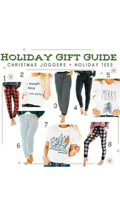 Our preferred December outfit? Christmas joggers and a cute holiday tee! Perfect for lounging, opening gifts, OR an easy & useful gift to give! Check out our favs on the blog! (Holiday How To, Infographics, Cute Casual Outfits)