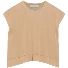 Stella McCartney Cropped silk and cotton-blend top ($280) ❤ liked on Polyvore featuring tops, white, boxy top, grommet top, white crop top, white tops and loose fit crop top