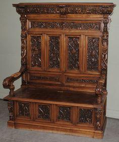 Antique French Renaissance Walnut Hall Bench