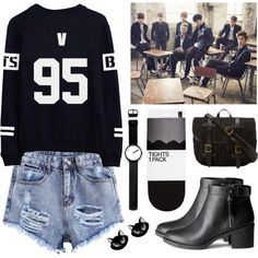 Going to a Bangtan Boys concert by mynotebookofstyle on Polyvore featuring polyvore fashion style H&M Filson Rosendahl bts BangtanBoys taehyung kpopoutfit