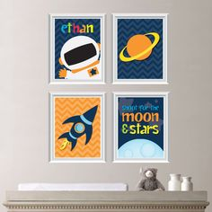 Astronaut Love Print Quad - Baby. Decor Kid Nursery Boy Space. Rocket. PLANET Shown in Navy Orange Green Yellow - You Pick the Size (NS-215)...