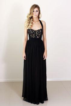 satin ankara, lace, chiffon overlay...   black halter long bridesmaid dress