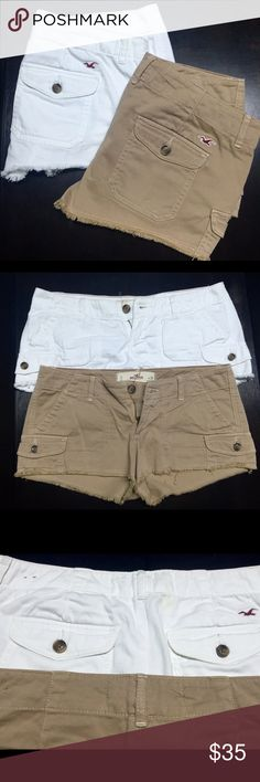 ⚡️Flash Sale⚡️NWOT Hollister Cargo Shorts Pretty shorts from Hollister, tan pair has been worn once, white ones have never been worn. Both in great condition. White ones do have a yellow spot near top (as pictured) from not being worn. Should come out in wash. I can separate two if desired. No trades please. No Trades Hollister Shorts Cargos