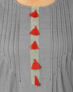 Straight Kurta with Pintucks Buy Grey AJIO Straight Kurta with Pintucks Neck Designs For Suits, Neckline Designs, Dress Neck Designs, Designs For Dresses, Sleeve Designs, Blouse Designs, Salwar Designs, Kurta Designs Women, Kurti Designs Party Wear