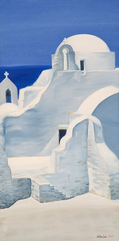 """Church in Mykonos"" is an oil on canvas painting of the Parapoitiani church on the island of Mykonos by artist Esther BeLer Wodrich Oil Painting Trees, Simple Oil Painting, Oil Painting For Beginners, Painting People, Oil Painting Abstract, Watercolor Paintings, Watercolors, Painting Clouds, Painting Videos"