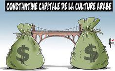 """✪ Algérie : dessin de presse """"Constantine capitale de la culture arabe""""..."""