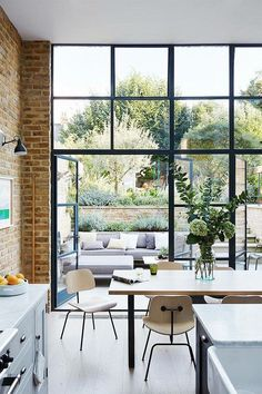 Buy Flowers Online Same Day Delivery Lucas Allen Photography, House and Garden Uk, London Kitchen Dining Room Terrace Interior Exterior, Interior Architecture, Interior Design, Modern Exterior, Windows And Doors, Large Windows, High Windows, Steel Windows, Black Windows