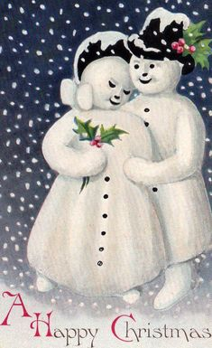 """Antique """"A Happy Christmas"""" card with a snuggling snow couple."""