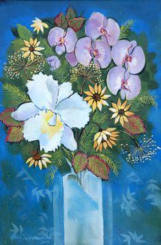 Yara Tupynamba - Yara Tupynambá Gordilho Santos  Título :Vaso de flores com grande orquídea  Técnica :Acrílica sobre tela colada sobre madeira  Ano :2004