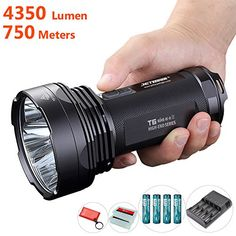 Best Highest 4350 Lumen Flashlight: Jetbeam T6 High Output Cree LED Spotlight With Strobe, Most Powerful Torch With 4x Olight 3400mAh Rechargeable 18650 Batteries and Jetbeam i4 Pro Battery Charger