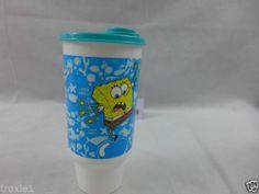 Tupperware Spongebob Tumbler 32 OZ Sea Blues Flip Seal & 2 Straws NEW