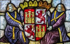 Coat of arms of Castile and Leon; detail of a stained glass window in the Alcázar, Segovia, Spain. Stained Glass Angel, Stained Glass Paint, Stained Glass Windows, Wine Bottle Wall, Wine Bottles, Wine Glass, Glass Cactus, Cafe Art, Glass Wall Art