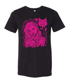 At long last, this fan-favorite design is available as a shirt!    Super soft, pre-shrunk material  Crew neck design  Black fabric with magenta print  Unisex sizing in XS-XL    Designed by Jen Bartel    Limited availability
