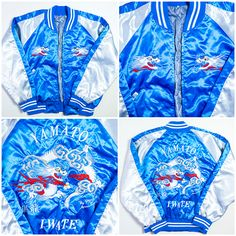 Vintage Japanese Japan Dragon Ryu YAMATO IWATE Silver Blue Souvenir Sukajan Jacket - Japan Lover Me Store