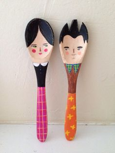 hand painted wooden spoon couple by noodleandlou on Etsy