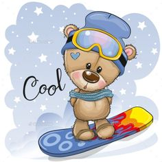 Cute cartoon Bear on a snowboard. Cute cartoon Teddy Bear on a snowboard on a blue background vector illustration Cartoon Cartoon, Baby Cartoon Drawing, Kids Cartoon Characters, Cute Cartoon Animals, Cartoon Drawings, Cute Animals, Tatty Teddy, Snowboard, Cartoon Mignon