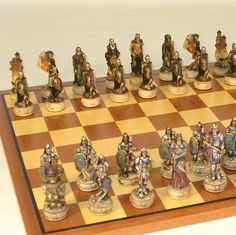 Skeleton Chess Set | Maple Chess Board - Skeleton Kings with painted resin chess pieces and featuring a sapele/maple chess board great chess set!